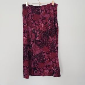 Notations Vintage XL skirt purple floral leaves